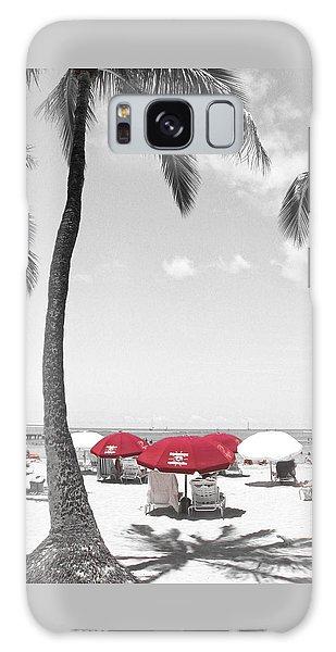Red Umbrellas On Waikiki Beach Hawaii Galaxy Case by Kerri Ligatich