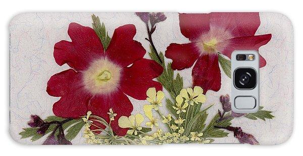 Red Verbena Pressed Flower Arrangement Galaxy Case