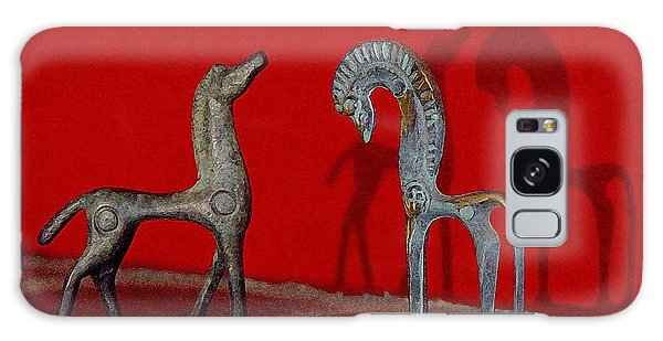 Red Wall Horse Statues Galaxy Case