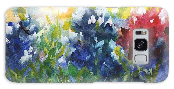 Red White And Bluebonnets Watercolor Painting By Kmcelwaine Galaxy Case