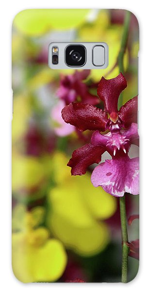 Maroon And Yellow Orchid Galaxy Case