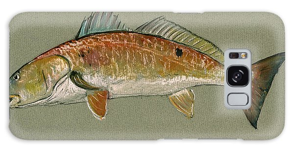 Fish Galaxy S8 Case - Redfish Watercolor Painting by Juan  Bosco