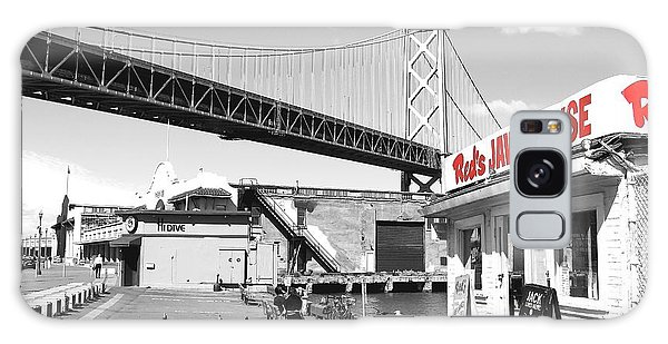 Reds Java House And The Bay Bridge In San Francisco Embarcadero . Black And White And Red Galaxy Case