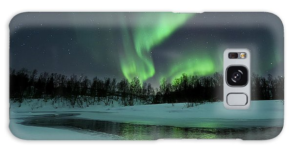Galaxy Case featuring the photograph Reflected Aurora Over A Frozen Laksa by Arild Heitmann