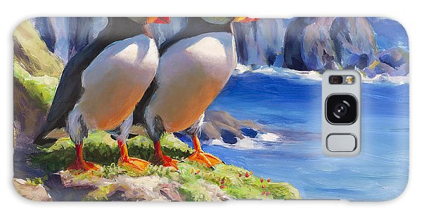 Reflecting - Horned Puffins - Coastal Alaska Landscape Galaxy Case