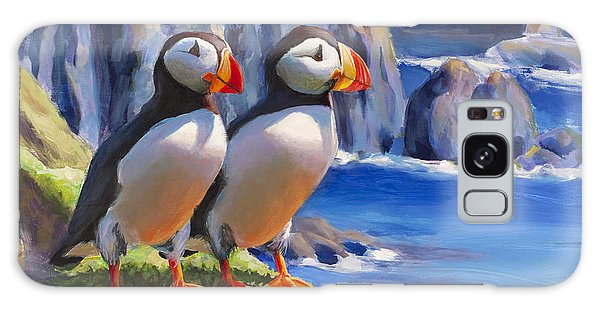 Horned Puffins - Coastal Decor - Alaska Landscape - Ocean Birds - Shorebirds Galaxy Case
