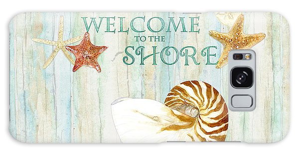 Cottage Galaxy Case - Refreshing Shores - Lighthouse Starfish Nautilus Sand Dollars Over Driftwood Background by Audrey Jeanne Roberts