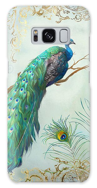 Peacock Galaxy Case - Regal Peacock 1 On Tree Branch W Feathers Gold Leaf by Audrey Jeanne Roberts