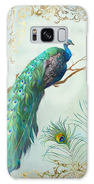 Peacocks Galaxy Case - Regal Peacock 1 On Tree Branch W Feathers Gold Leaf by Audrey Jeanne Roberts