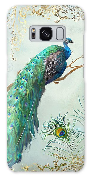 Regal Peacock 1 On Tree Branch W Feathers Gold Leaf Galaxy Case