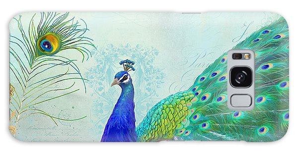 Peacocks Galaxy Case - Regal Peacock 2 W Feather N Gold Leaf French Style by Audrey Jeanne Roberts
