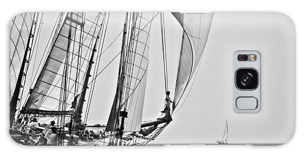Regatta Heroes In A Calm Mediterranean Sea In Black And White Galaxy Case