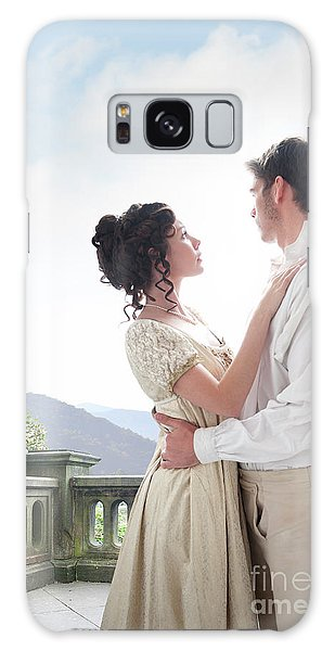 Regency Couple Embracing On The Terrace Galaxy Case