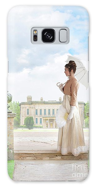 Regency Woman In The Grounds Of A Historic Mansion Galaxy Case