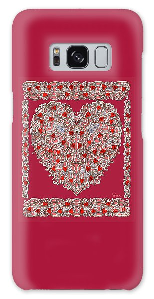 Renaissance Style Heart With Dark Red Background Galaxy Case