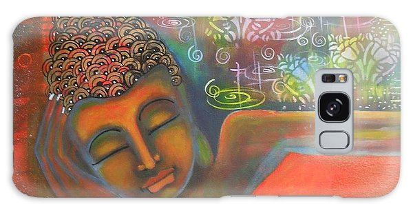 Buddha Resting Against A Colorful Backdrop Galaxy Case