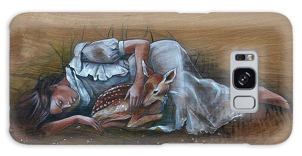 Resting Maiden With Fawn Galaxy Case by Jacque Hudson