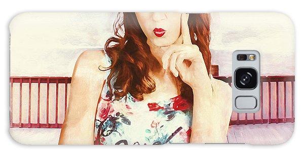 Board Walk Galaxy Case - Retro Clip Art Of A Thinking Pin-up Woman by Jorgo Photography - Wall Art Gallery