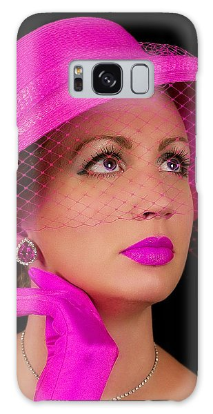 Retro Lady In Fuchsia Galaxy Case