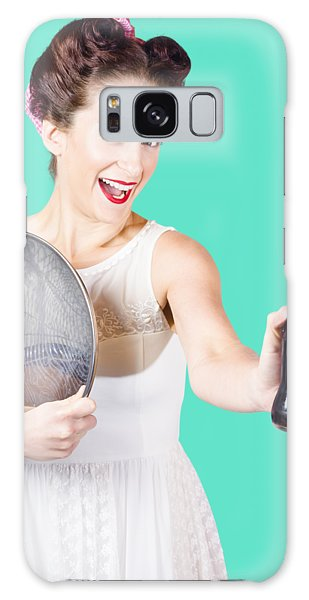 Vivacious Galaxy Case - Retro Pin-up Girl Giving Bottle Of Soft Drink by Jorgo Photography - Wall Art Gallery