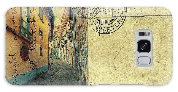 retro postcard of Porto, Portugal  Galaxy Case