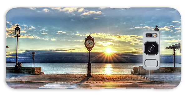 Revere Beach Clock At Sunrise Angled Long Shadow Revere Ma Galaxy Case