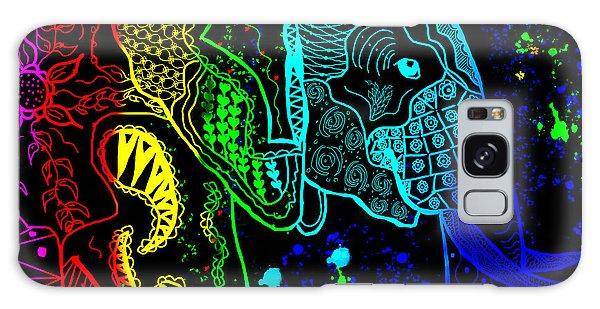 Rainbow Zentangle Elephant With Black Background Galaxy Case