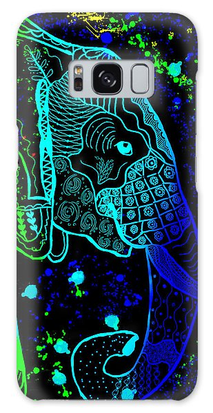 Rainbow Zentangle Elephant With Black Background Galaxy Case