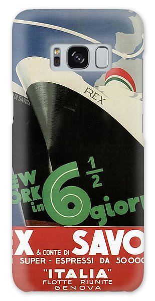 Rex, Conte Di Savoia - Italian Ocean Liners To New York - Vintage Travel Advertising Posters Galaxy Case