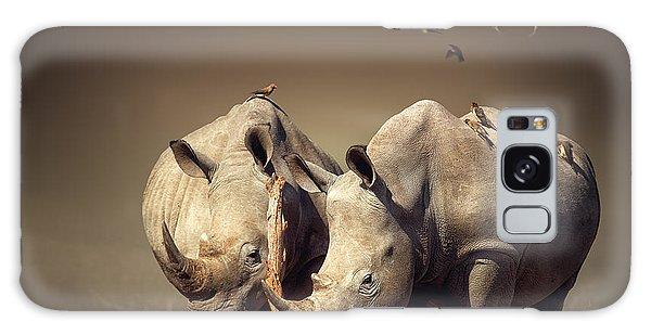 Outdoor Galaxy Case - Rhino's With Birds by Johan Swanepoel