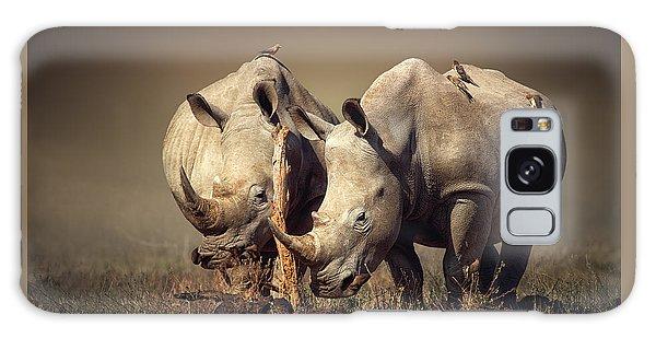 Fog Galaxy Case - Rhino's With Birds by Johan Swanepoel