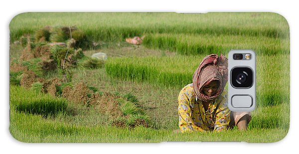 Rice Field Worker Harvests Rice In Green Field In Southeast Asia Galaxy Case by Jason Rosette