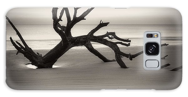 Ripples Of Sand And Driftwood Sepia Galaxy Case