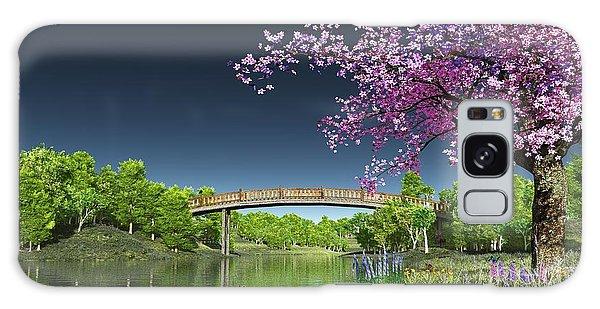 River Bridge Cherry Tree Blosson Galaxy Case