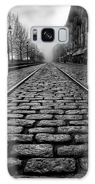 River Street Railway - Black And White Galaxy Case by Renee Sullivan