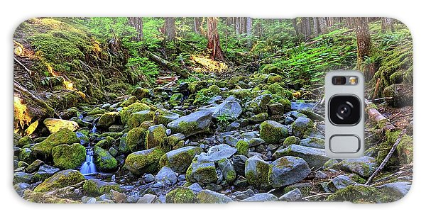 Riverbed Full Of Mossy Stones With Small Cascade Galaxy Case