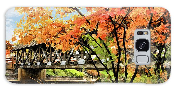 Galaxy Case featuring the painting Riverwalk Covered Bridge by Christopher Arndt