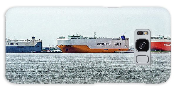 Galaxy Case featuring the photograph Ro Ro Freighters Lined Up At Curtis Bay by Bill Swartwout Fine Art Photography