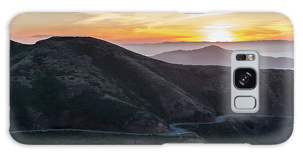 Road On The Edge Of The Mountain With Sunrise In The Background Galaxy Case