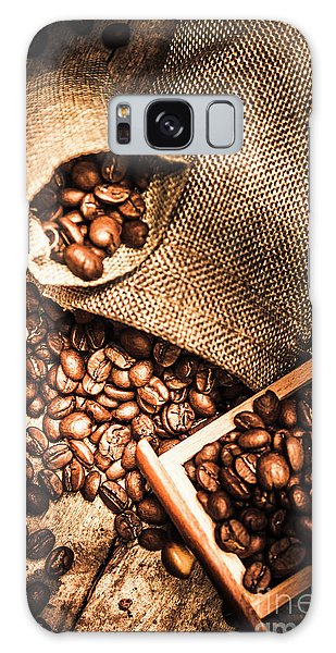 Cafe Galaxy Case - Roasted Coffee Beans In Drawer And Bags On Table by Jorgo Photography - Wall Art Gallery