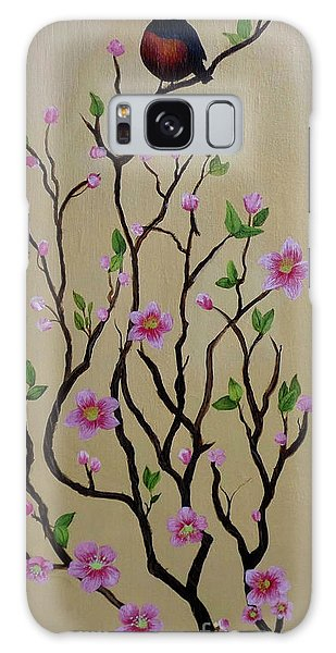 Robin And Spring Blossoms Galaxy Case