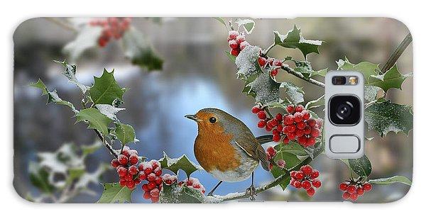 Robin On Holly Branch Galaxy Case