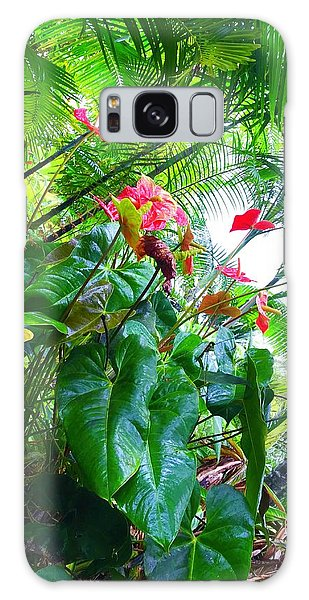 Robins Garden With Anthuriums And Ferns Galaxy Case