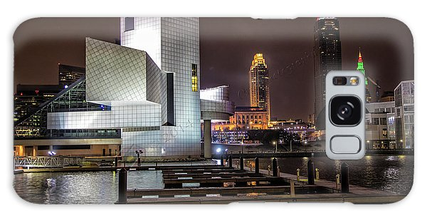 Rock Hall Of Fame And Cleveland Skyline Galaxy Case by Peter Ciro