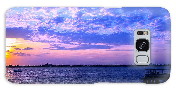 Rockaway Point Dock Sunset Violet Orange Galaxy Case by Maureen E Ritter