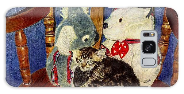 Rocking With Friends - Kitten And Stuffed Animals Painting Galaxy Case