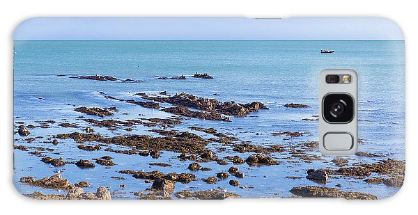 Rocks And Seaweed And Seagulls In The Irish Sea At Howth Galaxy Case by Semmick Photo