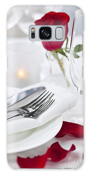 Rose Galaxy Case - Romantic Dinner Setting With Rose Petals by Elena Elisseeva