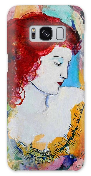 Romantic Read Heaired Woman Galaxy Case