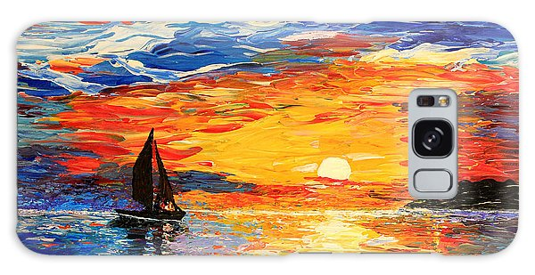 Galaxy Case featuring the painting Romantic Sea Sunset by Georgeta  Blanaru